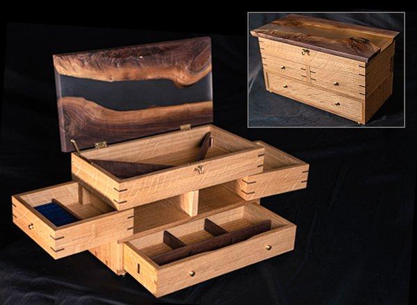 walnut and epoxy jewelry cabinet