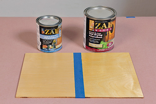 A comparison of the coloration caused by water and oil-based poly finishes