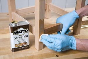 Using cloth to wipe-on danish oil finish