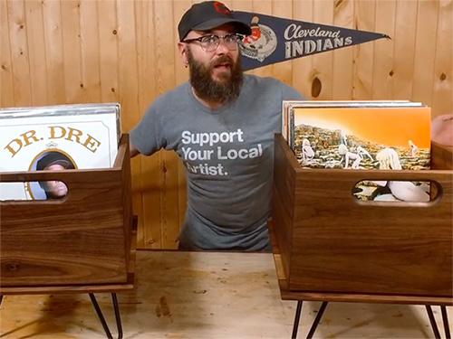 David Picciuto and his walnut record crates