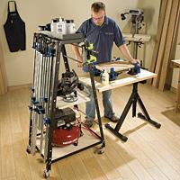 man using rocklers clamp storage rack