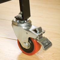 pack rack features locking caster wheels