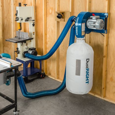 Rockler dust right dust collection system on workshop wall