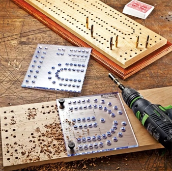 Extra large cribbage board drilling layout template