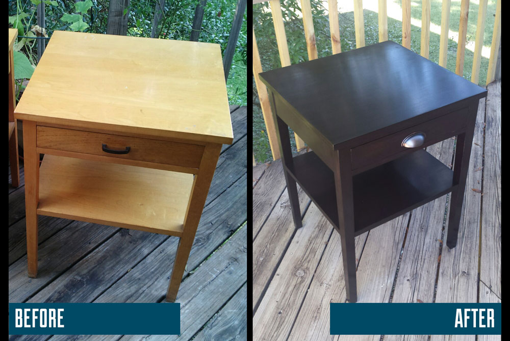 An example of how refinishing can add new life to dated furniture.