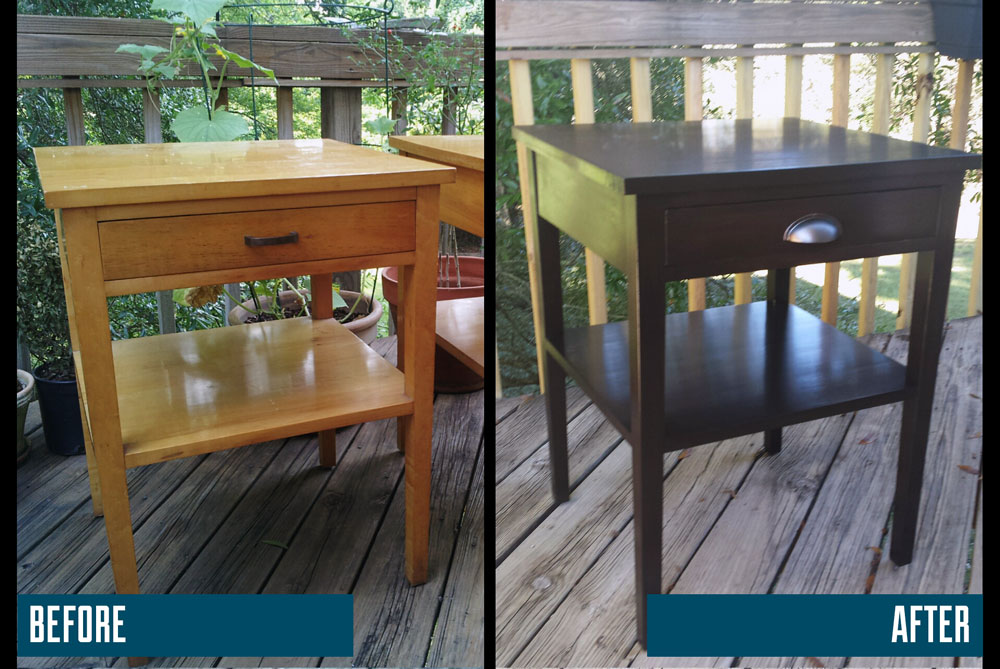 Dated end table simply refinished with java gel with a new pull.