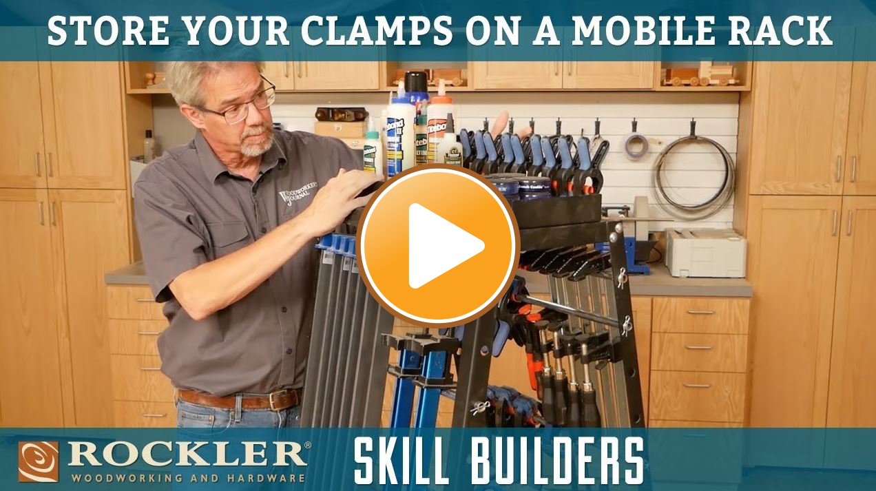 Storing Woodworking Clamps on a Mobile Rack
